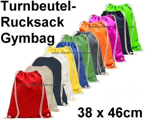 einfarbige Turnbeutel-Rucksäcke GYMBAGs aus Baumwolle in vielen verschiedenen Farben im onlineshop