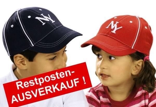 bestickte Kindercaps NY New York in rot und dunkelblau im Ausverkauf zum Sonderpreis