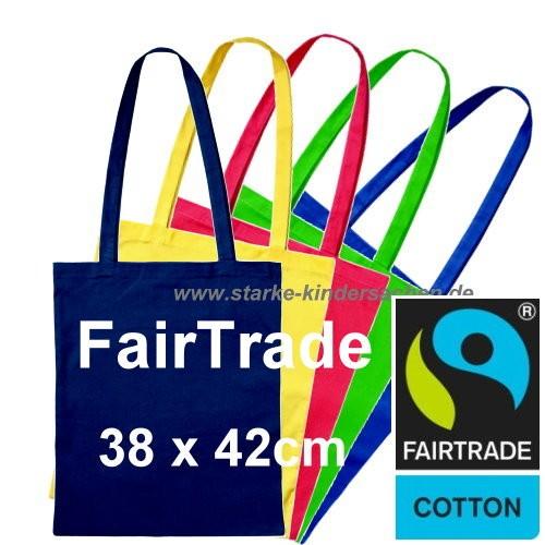 farbige Fairtrade Baumwolltaschen mit 2 langen Henkeln, bunte Umhängetaschen Fairtrade