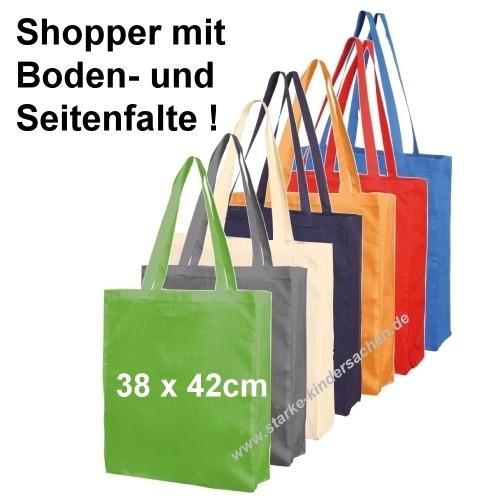 Shopper-Baumwolltasche 38x42cm mit Boden- u Seitenfalten