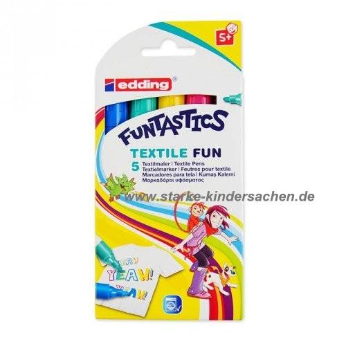 edding, Artikel-Nr 17/5S Funtastica Textile Fun 5er Set Stoffmalstifte Funliner