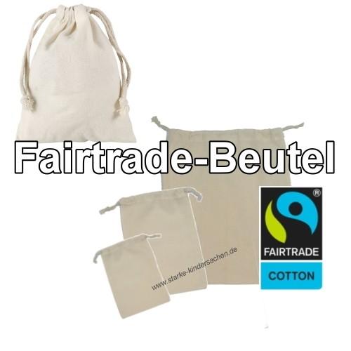 Fairtrade Baumwolle-Zuziehbeutel in vielen Groessen