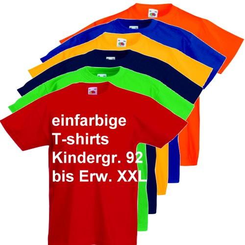einfarbige T-shirts in vielen Größen für Ihre Gruppe