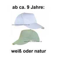 CE - festes Baseball-Cap NATUR oder WEISS, Uni-Größe 8-99 Jahre